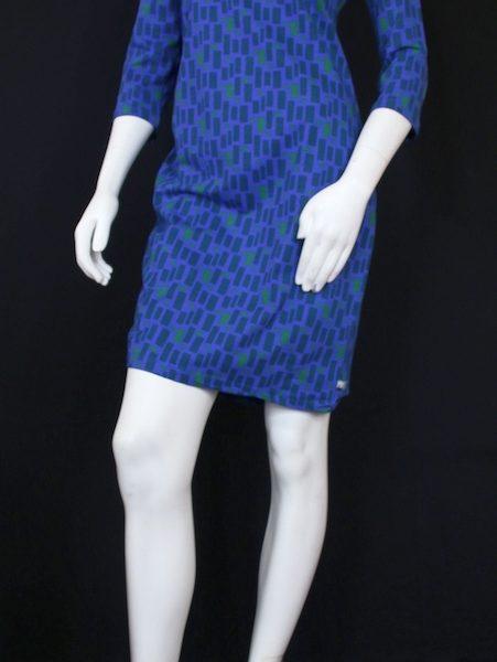 3-4-Arm Kleid blau gemustert Tranquillo